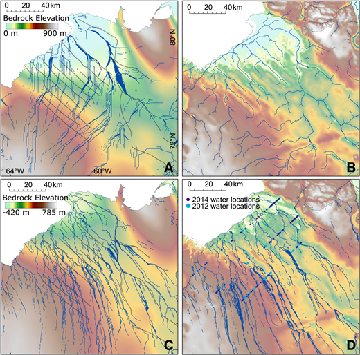Preglacial and subglacial hydrological pathways (blue lines) (see Data Repository [see footnote 1]), Humboldt Glacier, northern Greenland. A: Preglacial configuration with isostatically compensated bed and with channels smoothed out. B: Preglacial configuration with isostatically compensated bed. Elevation scale is same as in A. C: Present-day ice and bed configuration with channels smoothed out. D: Present-day ice and bed configuration. Elevation scale is same as in C. Potential water locations derived from high-bed-reflectivity anomalies that are at least 15 dB greater than mean are shown for overlapping flight lines from A.D. 2012 and 2014. Mapped channels from Figure 1C are included in panels A and C (thick gray lines).