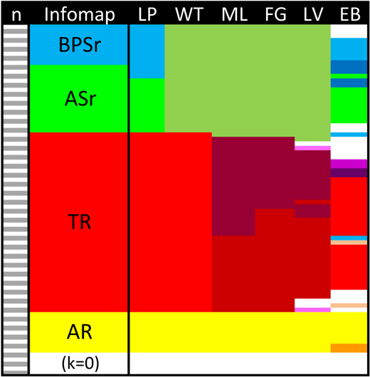 Comparison of the Infomap results with other estimated grouping structures (see text). LP—Label Propagation; WT—Walktrap; ML—Multilevel optimization; FG—Fastgreedy; LV—Leading Eigenvector; EB—Edge Betweenness. Disconnected nodes are represented as white unfilled areas. Bioprovinces: BPSr—Boreal-Pacific subrealm; ASr—Arctic subrealm; TR—Tethyan Realm; AR—Austral Realm. Disconnected nodes (nodes with degree k = 0) are colored in white.