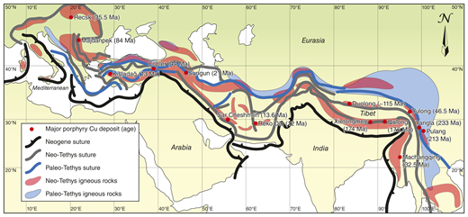 Distribution of igneous rocks associated with Paleo-Tethyan (Permian to Jurassic) and Neo-Tethyan (Cretaceous–Cenozoic) subduction and collisional closure (based on maps of Şengör et al., 1993; Richards, 2015b).