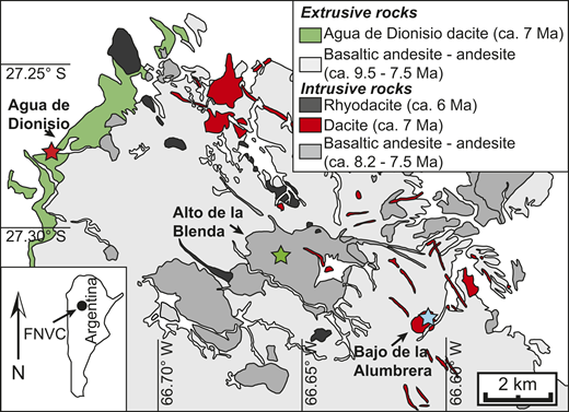 Simplified geologic map of Farallón Negro Volcanic Complex (FNVC), Argentina, modified after Llambías (1972). Geochronological constraints are from Sasso and Clark (1998) and Halter et al. (2004). Sample locations given by stars (blue, Bajo de la Alumbrera porphyries; green, quartz-feldspar porphyry intruding into the Alto de la Blenda stock; red, Agua de Dionisio volcanic section).