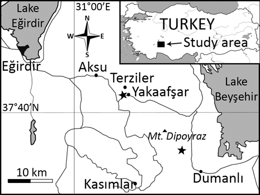 Map of study area (Turkey); two sample localities are indicated by stars.