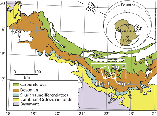 Simplified geological map (Wolff, 1964) of Ennedi-Bourkou region, northern Chad, showing belt of Paleozoic rocks that exhibit glacially formed lineation structures. Locations of Figures 2–4 are shown. Inset map shows position of Africa at 350 Ma, after Torsvik and Cocks (2013).