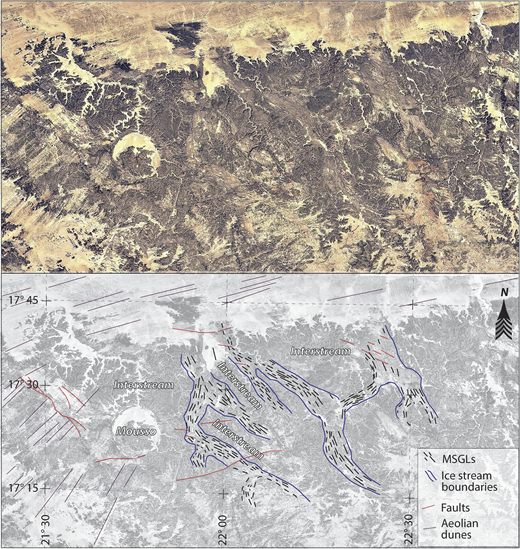 "Lineament analysis of Google Earth imagery, Ennedi-Bourkou region, northern Chad, illustrating suite of curvilinear features interpreted as mega-scale glacial lineations (MSGLs) traversing outcrop belts mapped as Devonian and Carboniferous by Wolff (1964). Sinuous belts of MSGLs are interpreted as paleo–ice stream pathways; neighboring regions devoid of these are interpreted as inter-stream areas. The ""Mousso"" structure is a possible impact crater (Buchner and Schmieder, 2007)."