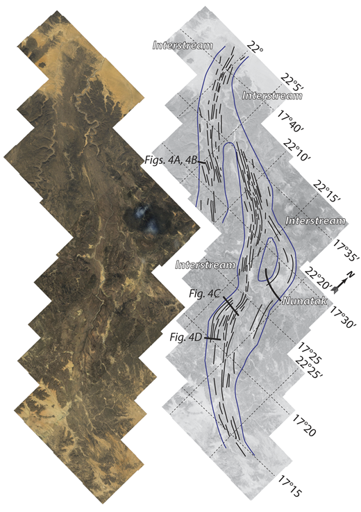 High-resolution view and interpretation of a paleo–ice stream track shown in Figure 2. Note deflection of mega-scale glacial lineations (MSGLs) around hill interpreted as a nunatak. Elevation of nunatak (1100 m) and of paleo–ice stream track to the west (850 m) allows maximum thickness of ice to be estimated (i.e., <250 m).