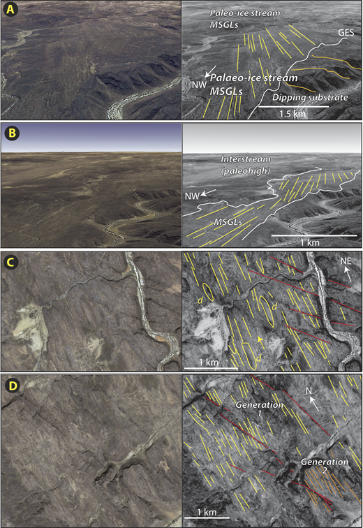 Series of snapshots from Google Earth imagery of the Ennedi-Bourkou plateaux (Chad) with accompanying interpretations. A: Interaction of mega-scale glacial lineations (MSGLs, yellow lines) with dipping strata of presumed pre-glacial origin (orange lines), with interpreted glacial erosion surface (GES) indicated. Scale bar applies to immediate foreground only. B: Low-angle perspective of interpreted paleo–ice stream pathway shown in A. Note interpreted inter-stream area which is devoid of MSGLs. C: MSGLs with evidence of fault offsets (faults in red), underscoring their antiquity (D—drumlins). D: Development of MSGLs on two plateau levels.