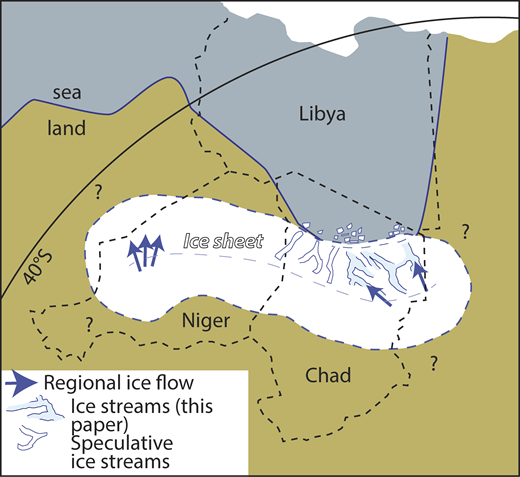 Tentative paleogeographic reconstruction of Visean ice sheet in north-central Africa, incorporating ice flow directions in Aïr Massif of northern Niger (Lang et al., 1991) with newly documented set of paleo–ice stream pathways in northern Chad. Speculated paleo–ice stream tracks are also shown. Coastline position follows Torsvik and Cocks (2013) for Tournasian at 350 Ma. Note close association of paleo–ice stream termini and paleoshoreline.