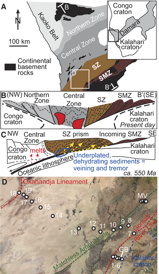 A: Simplified map of the inland branch of the Damara belt, Namibia, after Miller (1983). SZ—Southern Zone; SMZ—Southern Marginal Zone. B: Schematic cross section along line B-B′ shown in A, modified from Gray et al. (2007). C: Reconstruction of margin during its subduction phase (modified after Meneghini et al., 2017), where dotted yellow arrows refer to particle paths in the prism (Moore et al., 2007). D: Sample locations and boundaries referred to in the text, depicted on Landsat satellite imagery. Numbers refer to sample numbers starting with KV in Table DR1 (see footnote 1).