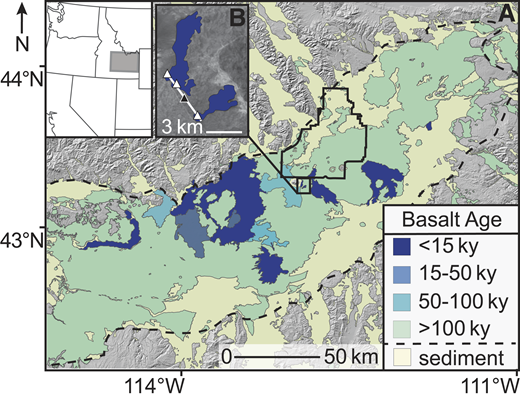 Location map with ages of basaltic volcanism on the eastern Snake River Plain (ESRP, Idaho, USA). A: Basalt and sediment coverage of the ESRP (Kuntz et al., 1994, 2007). Dashed line shows the inferred boundary of the ESRP, and solid line shows the outline of the U.S. Department of Energy's Idaho National Laboratory (INL). B: Event grouping illustrated by the Robbers Volcanic Field (11.9 ka ± 0.3). White triangles are mapped vents, black dot designates the eruptive event, and white line is the inferred location of a feeder dike for the event.