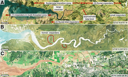 Aerial photographs of fluvial-tidal meanders (Google Earth™). River flow is from right to left. A: Dovey River, Wales, UK. B: South Alligator River, Northern Territory, Australia. C: Salmon River, Cobequid Bay, Canada.