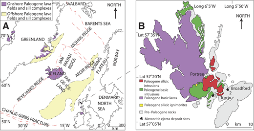 A: North Atlantic Igneous Province (modified from Saunders et al., 1997). B: Simplified geological map of the Isle of Skye, Scotland, showing the location of meteoritic ejecta layer deposits at sites 1 and 2.