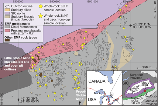 Geological map showing sample locations for Elsie Mountain Formation (EMF, Sudbury, Canada) metabasalts in the Sudbury Igneous Complex (SIC) contact aureole. Metabasalts with Zr/Zr* < 0.7 and zircon described in the text are confined to the proximal contact aureole (regional setting in Fig. DR1 [see footnote 1]). Metavolc.—metavolcanic.