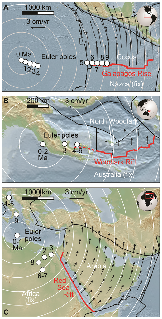 Present-day rotational rifts. A: Galapagos Rise. B: Woodlark Basin, east of Papua New Guinea. C: Red Sea Rift. White circles designate time-dependent Euler stage poles of relative plate motion with respect to the fixed plate. White lines are small circles of present-day plate motion. Arrows depict relative velocity field of relevant plate. Images generated with GPlates (www.gplates.org) using the global reconstruction of Müller et al. (2016).