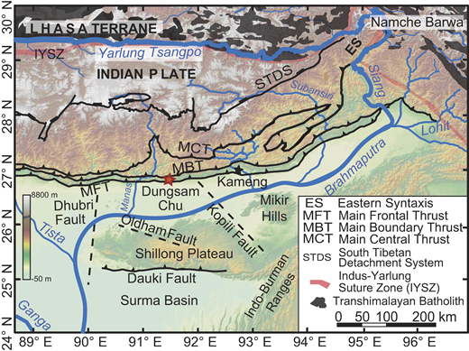 Main geologic features of the eastern Himalaya (from Lang and Huntington, 2014; Long et al., 2011). Red and black stars represent the Dungsam Chu (DC) and Kameng sections, respectively.
