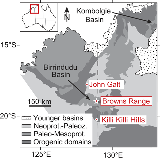 Geological map of Western Australia–Northern Territory border area (after Dunster and Ahmad, 2013), showing Browns Range heavy rare earth element (HREE) deposits, including Wolverine deposit on which present study focuses (star), and related John Galt and Killi Killi Hills occurrences. Mesoprot.—Mesoproterozoic; Neoprot.—Neoproterozoic; Paleoz.—Paleozoic.