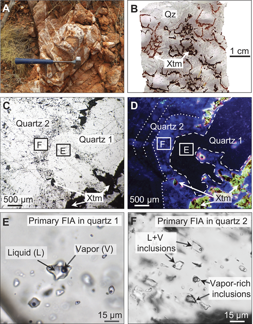 Petrography and paragenesis of quartz-xenotime veins, Wolverine deposit, northern Western Australia (Qz—quartz; Xtm—xenotime; FIA—Fluid Inclusion Assemblage). A: Outcrop of quartz-xenotime vein breccia. B: Brown xenotime mantling brecciated fragments of quartz 1 and intergrown with quartz 2. C: Closeup of sample in B: Quartz 1 with overgrowth of quartz 2, the latter enclosing xenotime inclusions. Also shown are locations of E and F. D: Cathodoluminescence image of area shown in C: Quartz 1 in dark blue, xenotime in yellow-green, and quartz 2 in light blue. E: Quartz 1 enclosing primary assemblage of homogeneously trapped liquid + vapor inclusions. F: Quartz 2 containing primary, heterogeneously trapped liquid + vapor inclusions and vapor-rich inclusions.