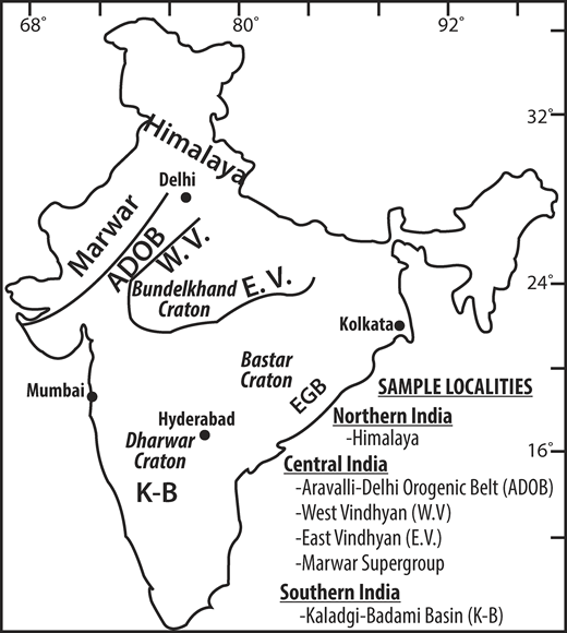Simplified locality map of India. EGB—Eastern Ghats Belt.