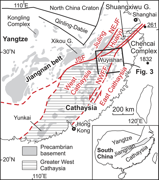 Tectonic framework of eastern South China (modified from Cawood et al., 2013). NEJF—Northeast Jiangxi fault; JSF—Jiangshan-Shaoxing fault; NWFF—Northwest Fujian fault; G.—Group. Black numbers 261 and 1832 are U-Pb zircon ages (in Ma) (metamorphic and magmatic, respectively; see Data Repository [see footnote 1] for sources).