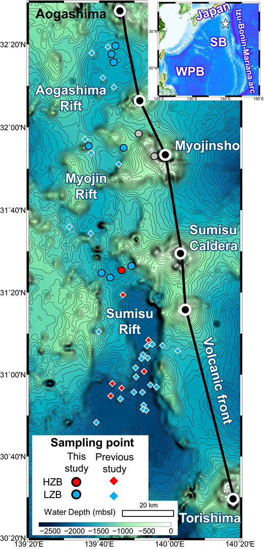 Bathymetric map of the active rift zone and sample locations, Izu arc. Open star indicates the position of the active rift zone of the Izu-Bonin arc. Gray circles denote sample locations for the Myojinsho volcano. Bathymetric data from Smith and Sandwell (1997) were used for drawing the bathymetric map. SB—Shikoku Basin, WPB—West Philippine Basin, HZB—high-Zr/Y basalt, LZB—low-Zr/Y basalt.