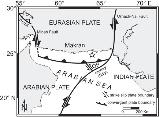 "Tectonic sketch map of Makran region (northern Arabian Sea), modified from Kukowski et al. (2001); OP—Ormara plate. Star indicates sample location ""Flare site 15"" located at 24°48 .46′N, 63°59.65′E, in ∼731 m water depth on upper slope of Makran convergent margin."