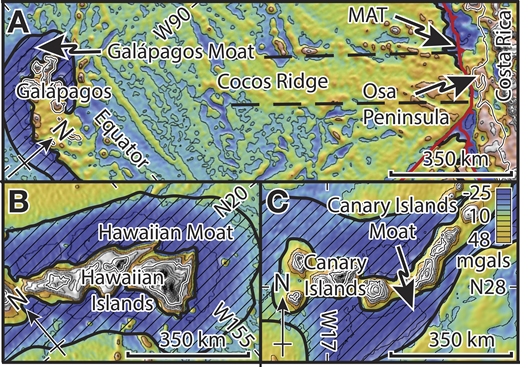 Gravity maps showing scale of seamount flexural moats (hachured areas) as low-gravity anomalies surrounding seamounts (Sandwell et al., 2014). A: Gravity map of Costa Rica, Galápagos Islands, and Cocos Ridge, showing Galápagos Moat as gravity low surrounding Galápagos Islands, Cocos Ridge as northeast-southwest–trending gravity high, and Middle America Trench (MAT) as gravity low along edge of Caribbean plate. B: Gravity map showing Hawaiian moat as gravity low surrounding Hawaiian chain. C: Gravity map showing Canary Islands moat as gravity low surrounding Canary Island chain.