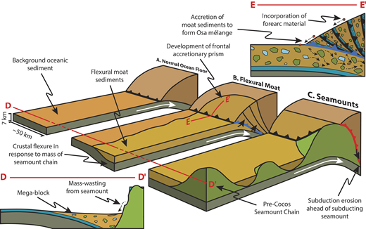 Conceptual model of frontal accretion of seamount moat sediments adjacent to subduction erosion by subduction of seamount. White arrows indicate convergence direction. A: Subduction of oceanic plate under conditions normal for this margin. B: Subduction of moat leading to increased accretion and development of frontal accretionary prism, even in otherwise non-accretionary subduction zones. This is the setting in which Osa mélange formed. Blue ticked line shows subduction accretion. C: Subduction of seamount (green) leading to increased local subduction erosion of upper plate (e.g., Ranero and von Huene, 2000; Vannucchi et al., 2016). Material eroded from base of forearc may be mixed with subducted moat sediments and reaccreted. Red ticked line shows subduction erosion. Insets show cross-sections beneath lines D-D′ and E-E′; D-D′ shows mass wasting from volcanic edifice into moat; E-E′ shows accretion of flexural moat into localized accretionary prism (see B) and mixing with upper-plate blocks.
