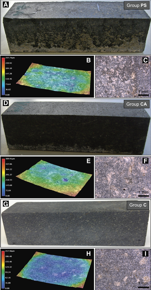 A: Visual and roughness changes in a group PS (physically pre-stressed) block after the experimental weathering phase, showing incipient salt weathering near the base and vein-like micro-cracks on the top surface. B: Three-dimensional (3-D) false-colored topographic image (50×) of a PS block after desalination, showing vein-like micro-cracks as shallow grooves. C: Same spot on block surface as in B, showing brownish, vein-like micro-cracks (50×). D: Group CA (chemically pre-treated) block after experimental weathering showing distinct surface pitting. E: 3-D false-colored topographic image (50×) of CA block after desalination showing depth of pitting. F: Same spot as in E, showing clear pitting (50×). G: Control (C) block before weathering experiment. H: 3-D false-colored topographic image (50×) of control block showing very low surface relief. I: Same spot as in H, showing regular, straight cutting traces (50×).