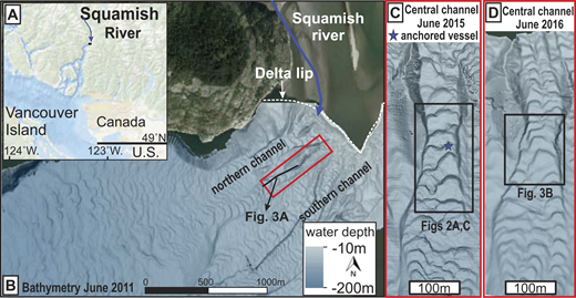A: Squamish River location, British Columbia, Canada. B: Three submarine channels covered by crescentic bedforms occur offshore from river-mouth. C: Location of flow dynamics observations in June 2015. D: Location of coring expedition in June 2016.