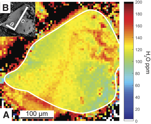 A: Water distribution map of an olivine grain from sample Ol1 measured with Fourier transform infrared (FTIR) spectroscopy coupled to a focal-plane-array (FPA) detector (pixel size is 5.6 × 5.6 µm). The border of the clear olivine is traced with a white line. Black pixels are associated with hydrous phases such as antigorite, whereas water-free oxides are represented by white pixels. B: Crystallographic axes determined from olivine overtones using polarized FTIR.
