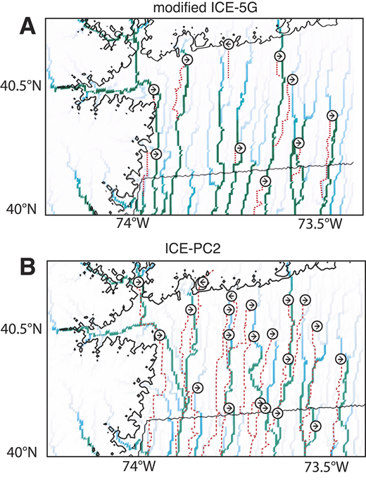 River drainage pattern computed using Channel-Hillslope Integrated Landscape Development (CHILD) model after the initial topography in Figure 3A is perturbed by regional glacial isostatic adjustment (GIA) predicted using the ice models: (A) modified ICE-5G (Fig. 2B), and (B) ICE-PC2 (Fig. 2C). Darker colors are used to highlight larger rivers. Eastward and westward diversions are labeled by arrows. Dashed red lines show original paths of these rivers prior to the imposition of the GIA deformation field (Fig. 3B). Thin black line represents shoreline position (as in Figs. 3A and B) adopted in the landscape evolution model at the start of the simulation.