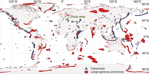 World distribution of large igneous provinces (modified from Bryan and Ferrari, 2013) and volcanoes (Venzke, E., 2013), as potential sources of zeolites.