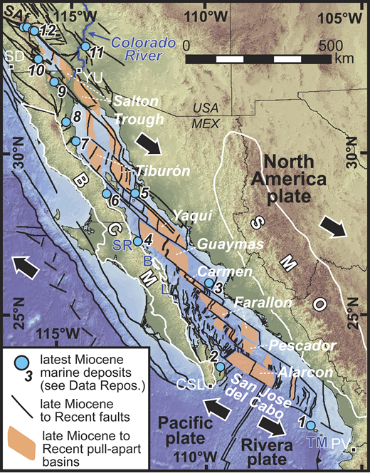Physiographic map and tectonic setting of the modern Gulf of California plate boundary. Abbreviations: B—Bahía Concepción; BCM—Baja California microplate; CSL—Cabo San Lucas; L—Loreto basin; PV—Puerto Vallarta; SAf—San Andreas fault; SD—San Diego; SMO—Sierra Madre Occidental; SR—Santa Rosalia basin; TM—Tres Marias Islands; YU—Yuma. Data Repos.—Data Repository (see footnote 1). Numbered blue dots refer to locations of published studies (see the Data Repository) that provide age constraints for the earliest marine strata in the Gulf of California.