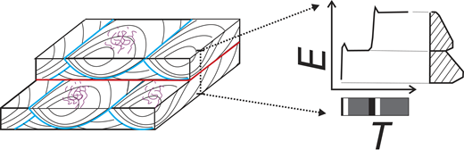 Block diagram showing stratal expression of events in Figure 2 (Psammichnites [purple], 1st-order [blue], and 2nd-order [red] bounding surfaces are highlighted). Graph shows how bed elevation (E) changed during time of deposition (T) and a resultant 2-D stratigraphic profile. Bar at bottom shows time recorded as strata (black), stasis time recorded by trace fossils (gray), and missing time (white).