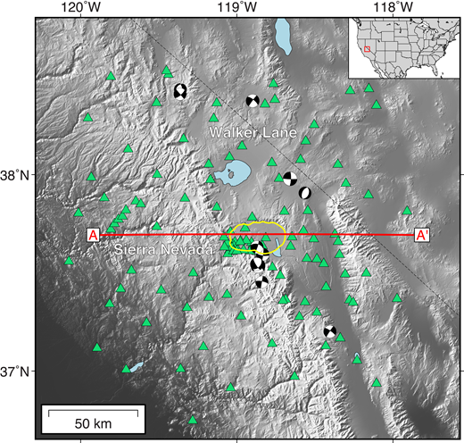 The 127 seismic stations (green triangles) and 11 regional earthquakes (Mw >4; focal spheres) used to image the crustal shear-wave velocity beneath the Long Valley Caldera (outlined in yellow) in California. Red line shows location of the cross section in Figure 2. Inset: Location of the study area (red box) in the western United States.