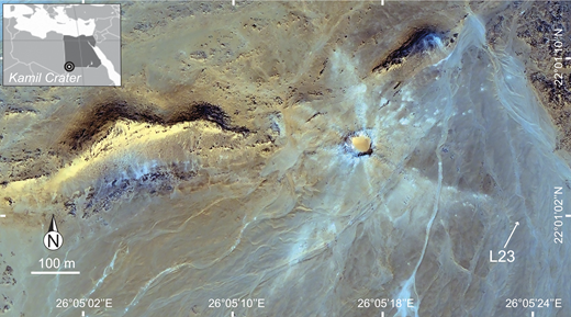The 45-m-diameter Kamil Crater, Egypt (22°01′06″N, 26°05′15″E; QuickBird satellite image), showing collection site of the sandstone ejecta sample (L23) studied in this work.