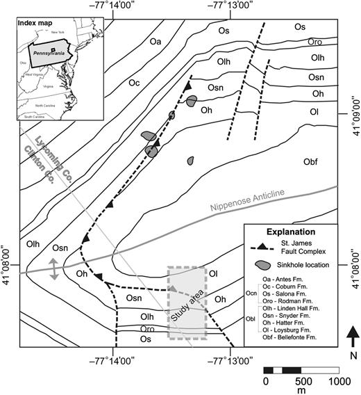 Integrated geophysical investigation of the st james fault complex the study area shaded area is located in north central pennsylvania index fandeluxe Image collections
