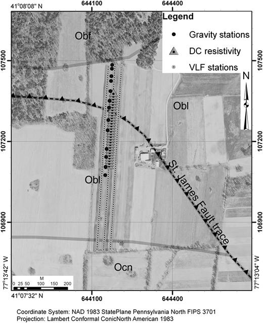 Integrated geophysical investigation of the st james fault complex the study area an agricultural field and expected geologic contact locations with mapped fault fandeluxe Image collections