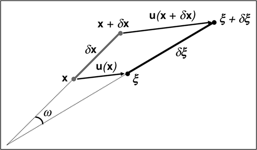 Sketch showing the displacement of a line segment δx with its end points x and x+δx in the undeformed state (light gray) being displaced by u(x) and u(x+δx) to ξ and ξ+δξ in the deformed state, respectively. The total rotation due to the displacement corresponds to the angle ω between δx and δξ.