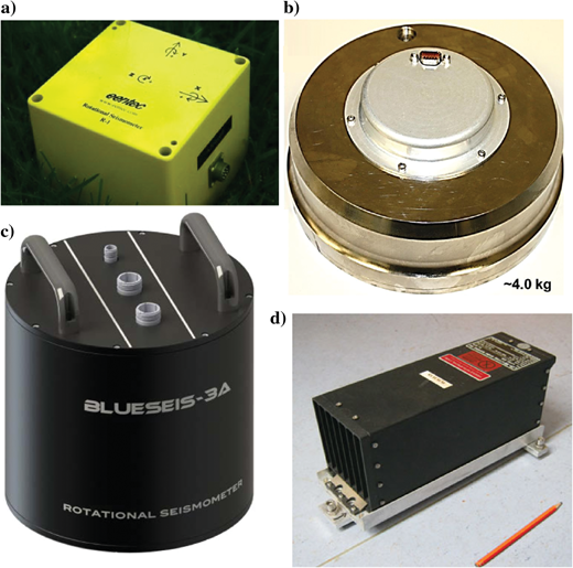 Examples of the most common portable rotational ground motion sensors: (a) R1/R2 by Eentec (from Eentec, 2017). (b) Seismic magneto-hydrodynamic prototype sensor by ATA (from Pierson et al., 2016). (c) BlueSeis3A by Blueseis (from BlueSeis, 2017). (d) LCG-Demonstrator by Litef.