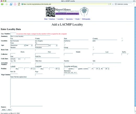 Figure 4. A new collecting locality can be added using this Web form.