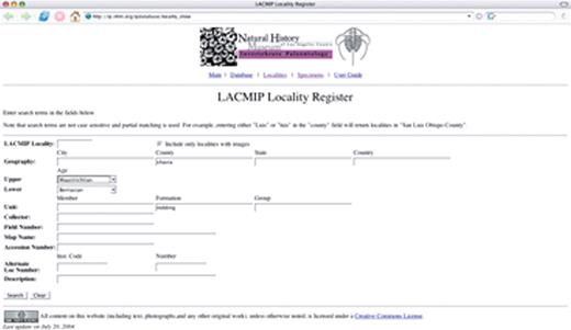 Figure 3. Forms for searching for collecting localities in the Department of Invertebrate Paleontology at the Natural History Museum of Los Angeles County (LACMIP) catalog. A: Search form allows users to specify values for various fields.