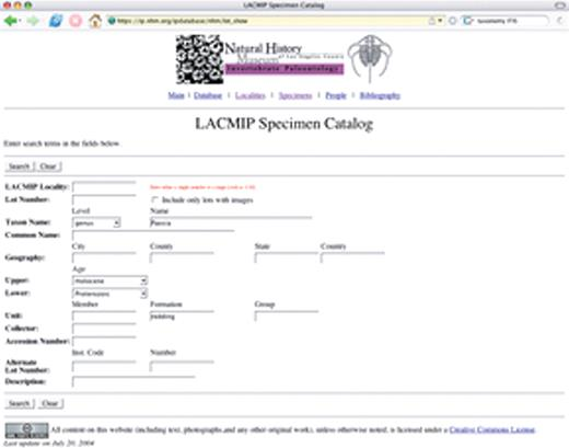 Figure 6. Specimen lot data can be browsed and new information can be added to the Department of Invertebrate Paleontology at the Natural History Museum of Los Angeles County (LACMIP) collections catalog using Web forms. A: A search for the gastropod genus Paosia from the Redding Formation is performed by entering Paosia and Redding in the appropriate fields.