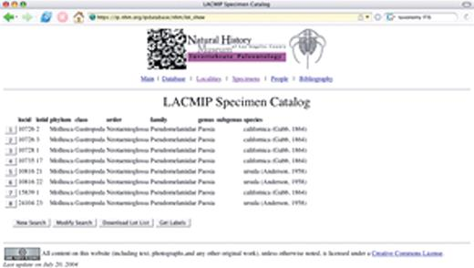 Figure 6. (Continued.) B: This search returned eight lots from various collecting localities; selecting one of the buttons on the left of page will return more information for a particular lot.