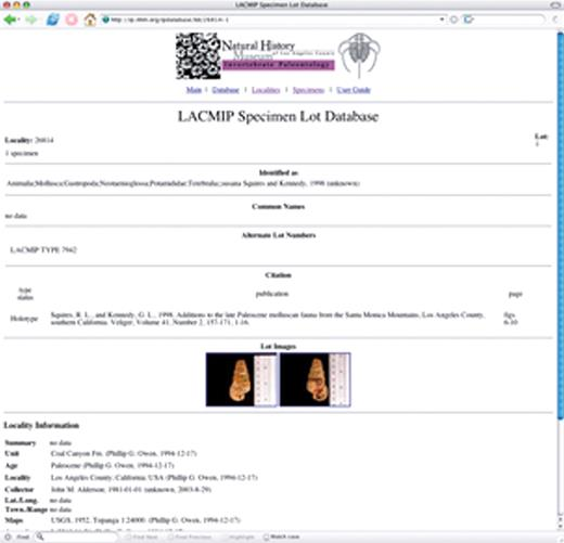 Figure 7. (Continued.) C: Links are available on the page along with results that allow researchers convenient access to the additional information in the LACMIP catalog. For example, the full information for specimen lot 26814-1 is available from http://ip.nhm.org/ipdatabase/lot/26814-1.