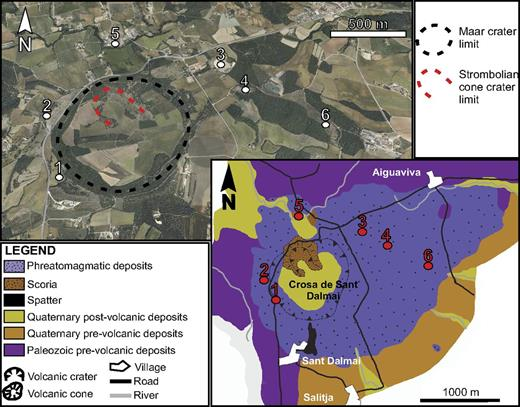 Google Earth image and geological map of the volcano of La Crosa de Sant Dalmai (modified from Martí et al., 2011) showing the main crater and the inner scoria cone, as well as the extent of the phreatomagmatic deposits and the pre- and postvolcanic deposits. The studied outcrops are also shown (numbers).