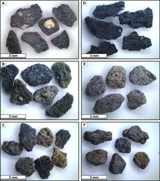 Photographs comparing the juvenile fragments of different lithofacies: (A) facies SDA; (B) facies SDB; (C) facies SDC; (D) facies SDD; (E) facies SDE; and (F) facies SDF. Most of the samples are made of poorly vesiculated scoriae except that in D, which represents a pure Strombolian deposit (facies SDD).