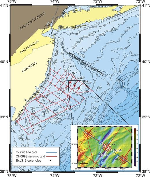 Location of the Integrated Ocean Drilling Program Expedition 313 (Exp313), Site M28 studied drillhole offshore New Jersey (modified from Expedition 313 Scientists, 2010c). Oc270—R/V Oceanus; CH0698—R/V Cape Hatteras.