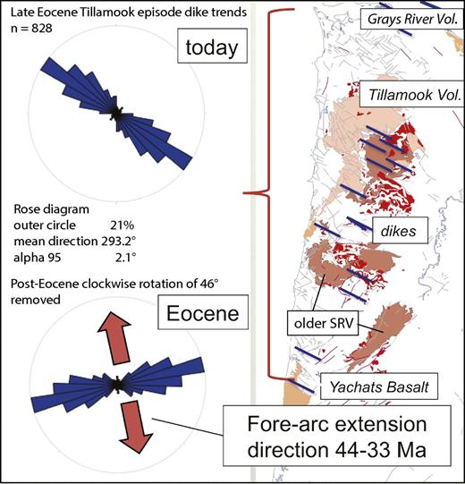 Geologic map showing location and orientation of postaccretion dikes (most are too small to show at scale). Dikes fed pulse of basaltic and alkalic volcanism that initiated ca. 42 Ma and peaked at 41.6 Ma, with decreasing volume to 34 Ma. After back rotation to Eocene orientation, dikes indicate north-northwest–south-southeast–directed extension, parallel to Eocene margin.