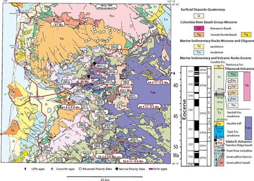 Geologic map of the Tillamook Highlands (Oregon) including locations of sample sites (location in Fig. 1B). Geologic column depicts correlation of geologic units with time scale of Gradstein et al. (2012). Sill complex (purple) effectively separates isolated outcrops of accreted Siletz River Volcanics from broad expanse of postaccretion Tillamook Volcanics. Locations of coccolith samples with CP zone determinations (italics) and dated U-Pb samples are shown. Tillamook Volcanics units: Tbs—Fossiliferous basaltic sandstone, Tbu—Upper basalt, Tsf—Dacite and rhyolite flows, Tbl—Lower basalt, Tpb—Pillow basalt, Tbr—Submarine breccia and basaltic turbidites, Tib—Tillamook basalt dikes and sills. Pre-Tillamook units: Tidb—regional basalt sill swarm, Thb—Basalt of Hembre Ridge, br—Submarine breccia of Siletz River Volcanics, pb—pillow basalt of Siletz River Volcanics. From Wells et al., (1995); Bukry and Snavely (1988); this paper. Magnetic polarity is from Magill et al. (1981).