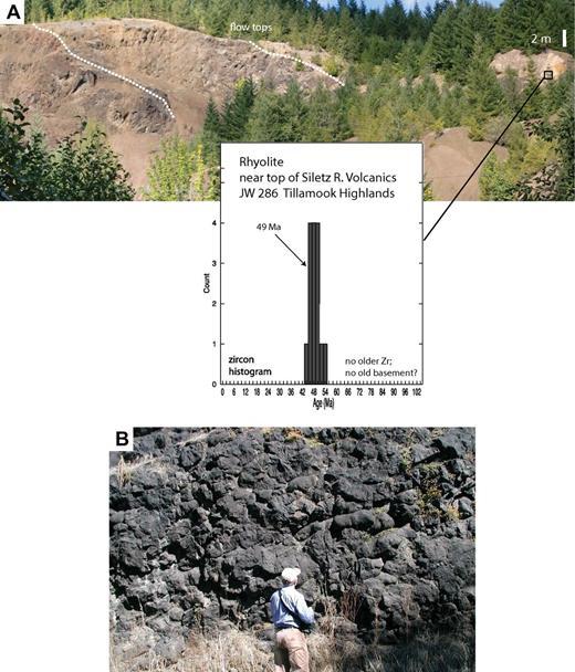 Photos of Siletz River Volcanics (SRV) and sampled units, Tillamook Highlands (Oregon). (A) Rhyolite flow (inset: 49 Ma, U-Pb age on zircons) over basalt, near top of SRV, Carpenter Creek area, eastern edge of map (sample JW96-286, Fig. 6). (B) SRV pillow basalt, Trask River Road (unit pb, Fig. 6).