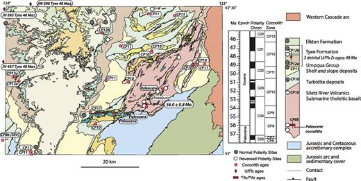 Geologic map of Roseburg (Oregon) 30′ × 60′ quadrangle and correlation of geologic units with time scale of Gradstein et al. (2012). Sample locations are shown on map; see Figure 1B for location of map area.
